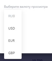Валюты для отображения сводного портфеля